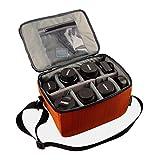 Impermeabile partizione antiurto borse fotocamera reflex imbottito custodia di protezione Inserire DSLR con maniglia superiore e tracolla regolabile per lente DSLR Shot o Flash Light (Orange, L)