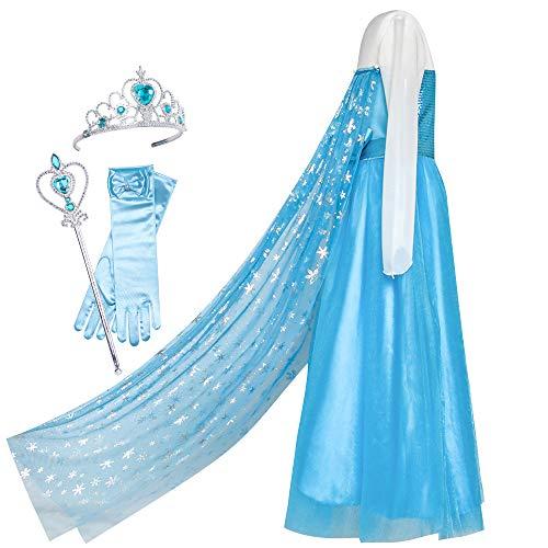 Sunboree Mädchen Kleid ELSA Prinzessin Zubehör Krone Zauber Zauberstab Kostüm Gr. 122