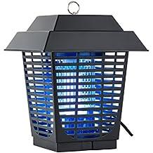 DURAMAXX Ex Lantern Lámpara antimosquitos antiinsectos (Fluorescente UV-A, Luz azul ultravioleta, 20 W potencia, rejilla alta tensión exterminador mosquitos, mata moscas, insectos, bichos, apto interior o exterior, base extraíble, protección salpicaduras agua)