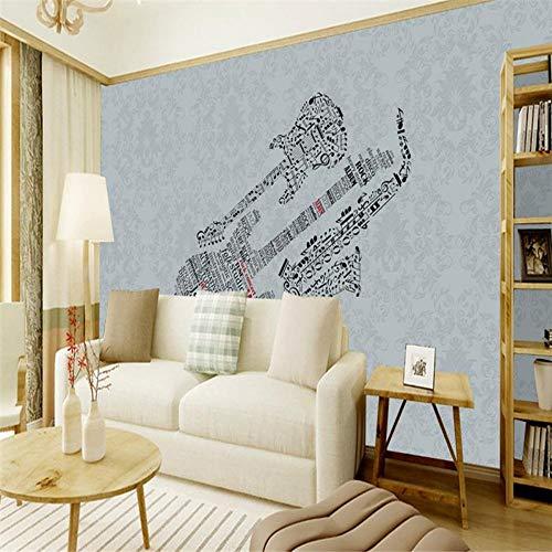 YUANLINGWEI Wandbild Tapete Foto 3D Wohnkultur BenutzerdefinierteWandbild Moderne Einfache Gitarre Saxophon Muster Wohnzimmer Tv Hintergrund,210Cm (H) X 290Cm (W)