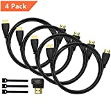 Perlegear Câble HDMI 4 Pack Ultra HD Professionel, Audio Return Channel - Signal...