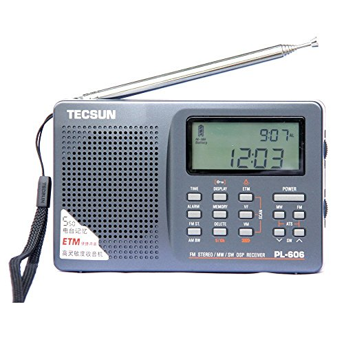 l PLL Portable Radio FM Stereo/LW/SW/MW DSP Shortwave Radio with Alarm Clock and External Antenna (Gray) ()