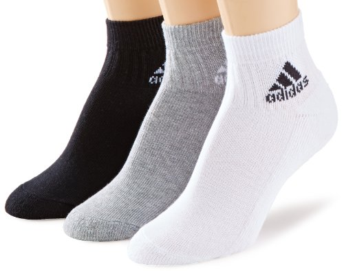 adidas Socken Ankle Half-Cushioned 3 Pair Pack White/Medium Grey Heather/Black, 43-46 -