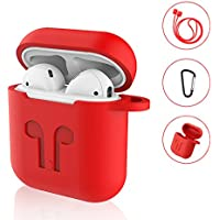 SYNERKY Custodia AirPods Case Apple Silicone Case, Silicone Case Skin Case with Sport Strap with Metal Keyring for Apple AirPods Case Protective 3 in 1 (Rosso)
