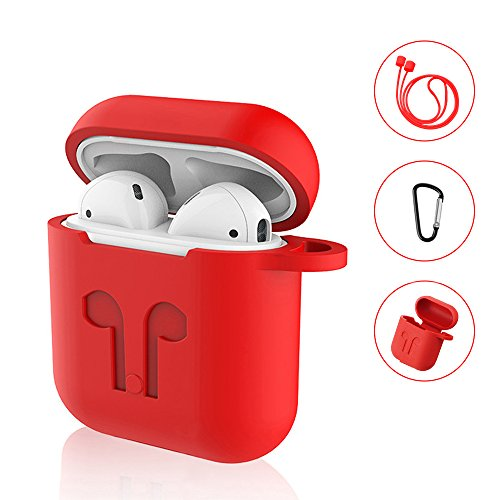 SYNERKY Custodia AirPods Case Apple Silicone Case, Silicone Case Skin Case with Sport Strap with Metal Keyring for Apple AirPods Case Protective 3 in 1 (Red)