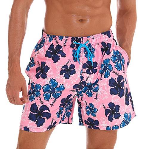 D&CiCiRi Schnell trocknend Sommer Herren Print Strand Boardshorts Surf Siwmwear Bermudas Swim Flower pink XL -