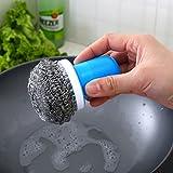 EQLEF® Vástago de bola de acero del cepillo cepillo de limpieza descontaminación fuerte fregado Ollas alambre cepillado