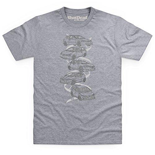 Nut & Bolt - Japanese Hot Hatch Generations T-Shirt, Herren Grau Meliert