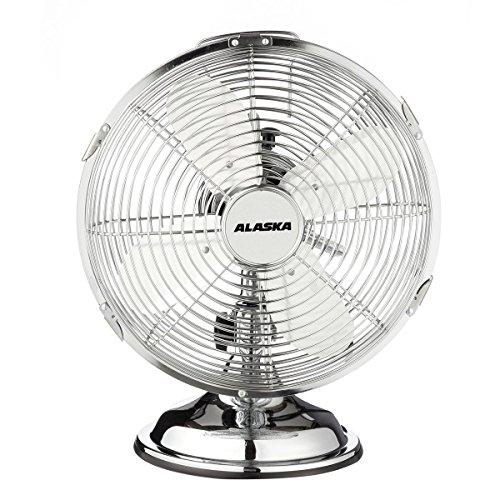 ALASKA Metall Tischventilator MF 2500 | Chrom | Schreibtisch Ventilator | Ø 25 cm | 3 Geschwindigkeitsstufen | variabler Neigungswinkel | 30 W | 230 V