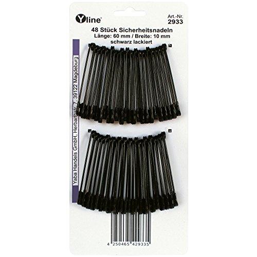 48 Stück Sicherheitsnadeln maxi / groß, schwarz 60 mm, Sicherheits- Nadel Nadeln Schmucknadeln, 2933 (Schwarze Nadeln)