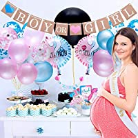 Gender Reveal Party Supplies and Baby Shower Boy or Girl Kit - 64 Pieces
