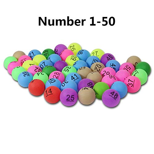 Glory.D 50 Stücke 2,4g Bunte Unterhaltung Ping Pong Bälle mit Anzahl Tischtennisball Serious Training Tischtennis Erwachsene und Kinder Spiele