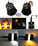 #9: Genxtra® Bike Handle Bar End LED Turn Signal Dual Color Lights Black For Royal Enfield