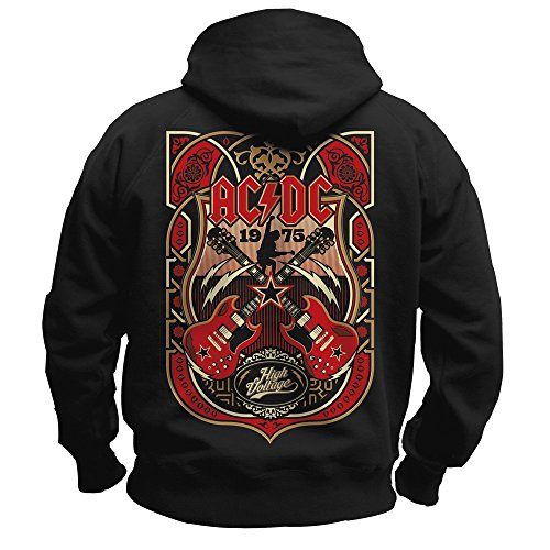 AC/DC - CROSSED STRINGS 1975 High Voltage - HOODIE SWEATSHIRT KAPUZE T-Shirt, Schwarz, GR.XXL (Dc Kapuzen-pullover)