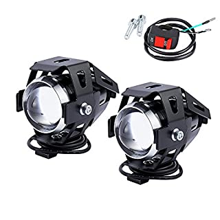 2PCS Motorcycle Headlight Motorbike U5 LED Fog Lamp Front Spot Light DRL Spotlight Driving Daytime Lights with On Off Switch