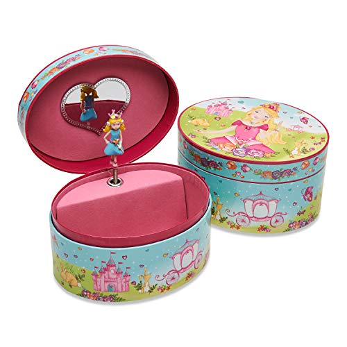 Lucy Locket - Ovales Schmuckkästchen mit Spieluhr und Prinzessinnen-Motiv - Glitzerndes Kinder Schmuckkästchen - Spieluhr mit Schmuckkästchen