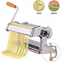COSTWAY manuelle Nudelmaschine Pastamaschine Pastamaker Spaghetti Nudeln Pasta Maker Küche Maschine Edelstahl silber / Breite: 2mm und 4,5mm / 6 einstellbare Stärken