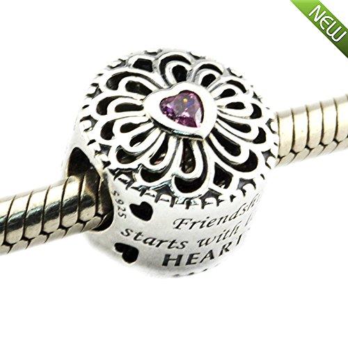 PANDOCCI Europäisches DIY passt für Pandora Armband Liebe und Freundschaft Charme mit rosa Zirkonia 100% 925 Sterling Silber Perle Charme