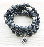 Artisanal Mala 108 Perles en Labradorite Grise Naturelle - Symbole Ôm