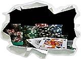 Tavolo da poker con le carte in Las Vegas, di carta 3D autoadesivo della parete formato: 92x67 cm decorazione della parete 3D Wall Stickers parete decalcomanie