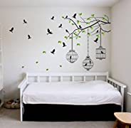 Decals Design 'Tree Branches with Leaves Birds and Cages' Wall Sticker (PVC Vinyl, 50 cm x 70 cm, Mult