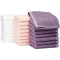 AmazonBasics - Asciugamani in cotone, confezione da 24, Lavanda, Rosa Petalo, Bianco