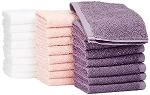AmazonBasics Cotton Washcloth/Face Towel - 448 GSM - Pack of 24, Multi-Color (Petal Pink, Lavender, White)