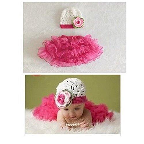 parkinoon Modische Muster Baby Kinder Fotografie Crochet Beanies Hüte und Rock Outfits, Rose Rot (0–1Jahr)