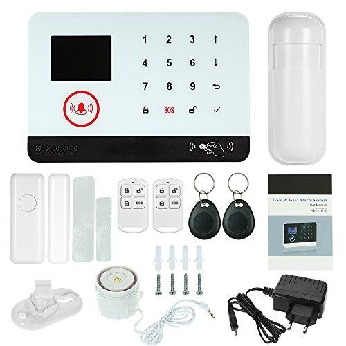 OWSOO Sistema de Alarma gsm 433MHz Inalámbrico WiFi + gsm SMS Sistema de Seguridad de Marcación Automática Alarma LCD Display Sensor de Puerta Sensor de Movimiento PIR Control Remoto de Phone App