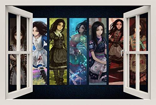 Unified Distribution Alice im Wunderland Kostüme - Wandtattoo mit 3D Effekt, Aufkleber für Wände und Türen Größe: 92x61 cm, Stil: Fenster