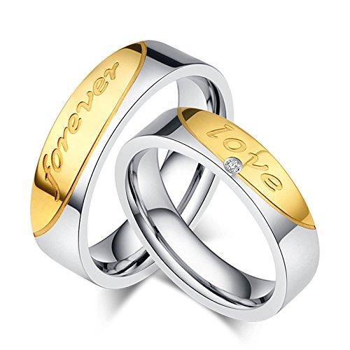 Daesar 2 x Eheringe Edelstahl Ringe für Paar Zirkonia Forever Love Partnerring Herren Damen Ringe Silber Damen Gr. 57 (18.1) & Herren Gr. 54 (17.2)