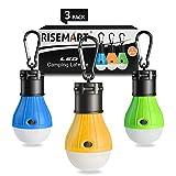 RISEMART 3 Stück Campinglampe mit Haken,LED Camping Laterne,Tragbare Zeltlampe Laterne Glühbirne Set-Notlicht für Camping, Wandern, Angeln, Jagen, Bergsteigen,Stromausfall