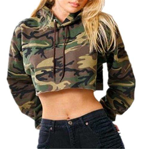 Kerlana Langarmshirt Damen Pullover Camouflage Streetwear Tshirt Crop Hemd Hoodie Oberteile Sexy Kurz Tops (Bateau-ausschnitt Pullover)