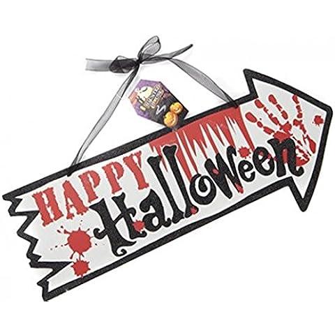 Muestra de madera colgante de madera feliz Halloween Horror decoración