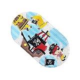EGOMARKET Cartoon Antirutsch PVC Badematte für Kinder, Sicherheits Badezimmer Matte, Rutschfest Antirutschmatten für Badewanne 15 x 27 Zoll, Korsar
