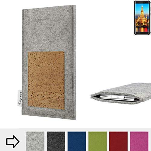 flat.design Handy Hülle Evora für Energizer H590S Made in Germany Handytasche Kartenfach Kork Filz Tasche Case