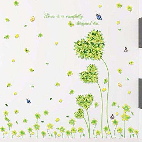 forme-de-cur-cinq-feuilles-herbe-papillons-sticker-mural-papier-maison-autocollant-amovible-en-vinyl