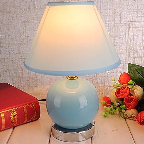 Ywyun Moderne und einfache Keramiklampen, hochwertige energiesparende LED-Lampen, Nacht Wohnzimmer Schlafzimmer Beleuchtung, 23 * 18cm ( Color : Blue )
