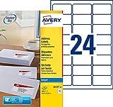Avery 600 Etiquettes Autocollantes (24 par Feuille) - 63,5x33,9mm - Impression Jet d'Encre - Blanc - J8159