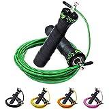 ZenRope - Speed Rope Springseil Sport mit GRATIS E-BOOK | Extra-Stahlseil, Tasche & Einstiegsguide | Rope Skipping Seil High Speed Workout Springschnur (Grün)