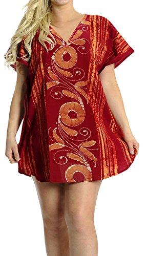 LA LEELA Damen Baumwolle überdimensional Midi Batik Kimono Kaftan Tunika Kaftan Damen Top Freie Größe Loungewear Urlaub Nachtwäsche Strand jeden Tag Kleider Orange_K232 -