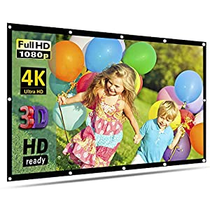 100'' Inch Projection Screen, GoFree Portable Projector Screen 16:9 HD 4K Foldable for Home Theater Cinema Indoor Outdoor HD Movie Screen,Collapsible Widescreen