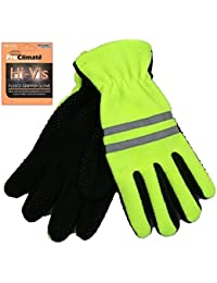NEW HI VIS FLEECE GRIPPER GLOVES WITH 3M SCOTCHLITE REFLECTIVE STRIP
