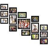 Shree Nath Creations Set of 15 Individual Black Wall Photo Frames    Mix Size    (1 Units of 8 X 10, 2 Units of 6 X 8, 2 Unit