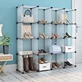 #10: 16-Cube DIY Shoe Rack By House of Quirk Storage Drawer Unit Multi Use Modular Organizer Plastic Cabinet without Doors - White
