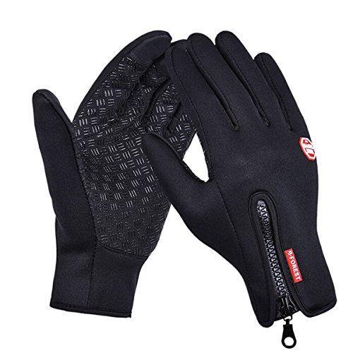 Butterme Fahrradhandschuhe Laufhandschuhe Winter Touchscreen Handschuhe Winddicht und wasserdichter geeignet Outdoor Sport Gym Handschuhe für Erwachsene Frauen und Männer- Gr.L, Schwarz