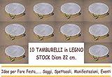 ARDITO MICHELE 10 TAMBURELLI TAMBURELLO in Legno 21/ 22 cm con Sonagli in Metallo Stock Festa Party Spettacolo Saggio