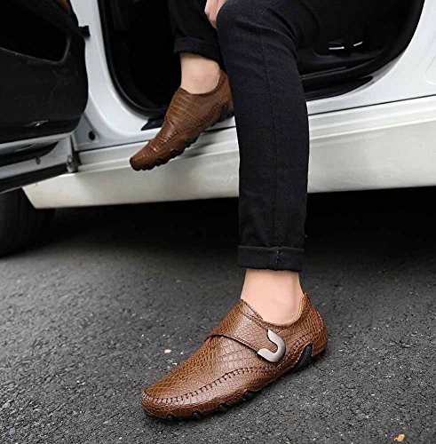 Top British Brown Uomini Driving Di Shoes New Scarpe Shoes Low Dimensioni Leather Flats Casual Shoes Buckle Grandi IxqBfawqv