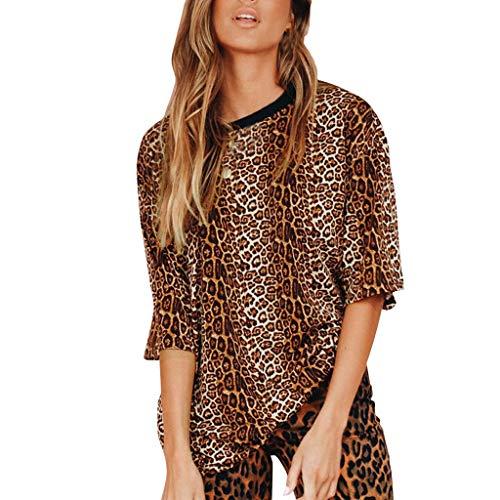 B-commerce Damen Mode Familie Pyjama Set Sling Snake Print Tops Mini T O Hals Patchwork Leopard Sommer ()