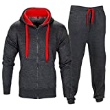 Love My Fashions Mens Contrast Fleece Hooded Top Bottoms Tracksuit